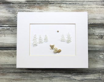 "Original Pebble Art,Sea Glass Art,""Winter Fox"",Pebble Art Fox,Rock Art,Wall Art,Framed Art,Unique Gift,OOAK,Art by M.McGuinness!"