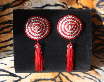 Red and Clear Crystal Rhinestone Striped Burlesque Pasties with Swivel, Rotating Tassels