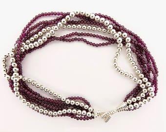 Tiffany Rhodolite Garnet and Sterling Silver  Multi-Strand Torsade Necklace