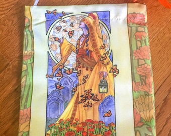 Drawstring Bag Lady of November Art Nouveau Birthstone Series Goddess Day of the Dead with Butterflies Mucha Style Tarot Deck Cosmetic Bag