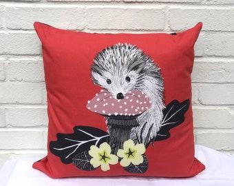 Hedgehog and primeroses cushion
