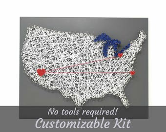 USA with Great Lakes Love Map Customizable DIY String Art Kit