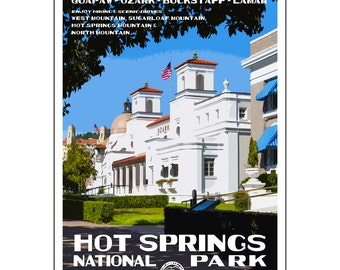 "Hot Springs National Park WPA-style poster. Color. 13"" x 19""  Original artwork, signed by the artist!"