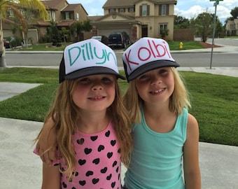 Kids Custom Name Trucker Hat Youth Trucker Personalized Glitter Vinyl