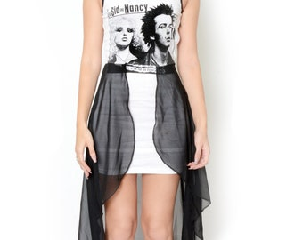 Sid and Nancy Altered Tee Fishtail Sheer Dress