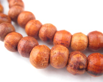 108 Rosewood Beads 5x7mm - Authentic Wood Beads - Natural & Organic Recycled Rosary Beads - Jewelry Making Supplies  ** (WOD-RND-BRN-128)