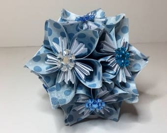 Small Kusudama Flower Ball Ornament (Snowflakes V14)