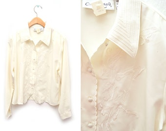 80s Cream Button Down Blouse Floral Embroidered Women's NOS Dead Stock Medium 10 Long Sleeved