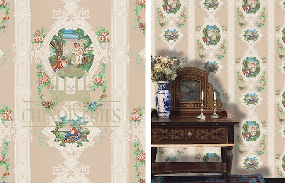 Dollhouse Miniature Wallpaper, Amour de Pays, Country Love, Scale One Inch