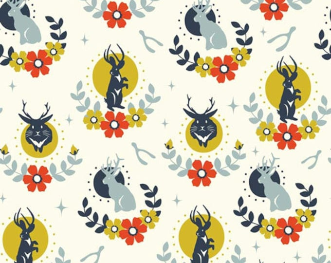 JACKALOPE CREAM 100% Cotton ORGANIC Quilt Fabric by the Yard, Half Yard or Fat Quarter Tall Tales Birch Fabrics