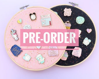 PRE-ORDER! Pin Board, pin display, embroidery hoop, pink glitter fabric, pink pin board, enamel pins, pins, brooches, lapel pin