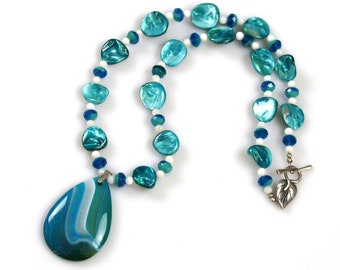 Blue and White Mother-of-Pearl and Fire-Polished Glass Necklace