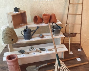 Miniature Dollhouse Potting Shed Tools, Miniature Potting Bench Tools, Gardening Tools, Miniature Gardening,