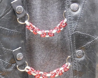 """Chain Mail Vest Extenders - 5/16"""" Red and Silver Aluminium - Set of 4"""