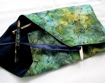 Indonesian Cotton Batik and Satin Five-Pen Wrap, Pen Roll, Pen Case