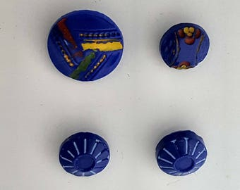 Vintage Diminutive Blue Glass Shank Buttons/Sewing Notions