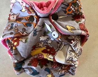 Alice in Wonderland Newborn fitted cloth diaper
