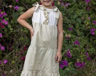 Girls maxi dress - bohemian flower girl dress - boho wedding - flower girl dress - boho maxi dress - boho flower girl dress - tiered dress