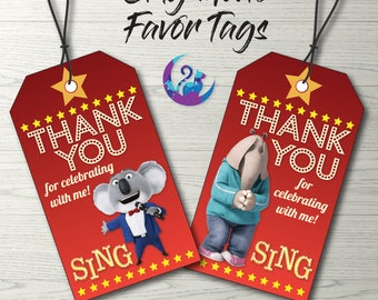 Sing Movie Favor Tags, Sing Movie Tags, Sing Movie Party Decoration, Sing Favor Tags, Sing Movie Birthday Party, Sing Movie Printable Tags