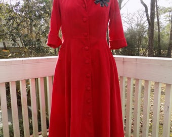 Vintage Retro Style Red Corduroy J. Peterman Fit and Flare Swing Dress Shawl Collar 3/4 Sleeves Valentine's Day Size 6