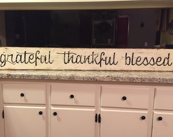 grateful thankful blessed sign fixer upper sign grateful sign blessed sign thankful sign farmhouse sign handpainted sign wood sign