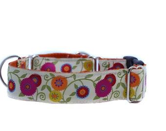 Wide 1 1/2 inch Adjustable Buckle or Martingale Dog Collar in Priscilla