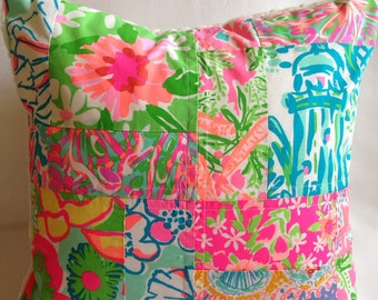 Lilly Pulitzer Pillow ~ Patchwork Pillow ~ Nursery Pillow ~ Dorm Pillow ~ Sunroom ~ Throw Pillow ~ Neon Brights ~ 16 x 16
