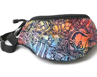 Fanny pack Rainbow BATIK fish fabric - Cute  - Hip Waist Bag for travel, sport, and hiking