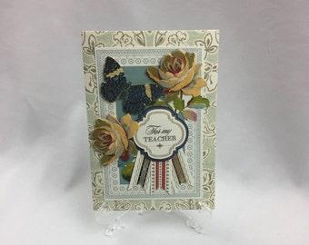 Anna Griffin,  Handmade Card, For My Teacher, Thank You, Flowers, Butterfly