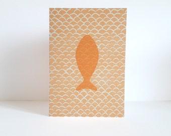 map 'Fish' printed in linocut - 10.5 / 15 cm - pattern - coral fish