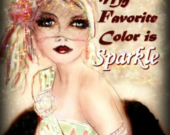 FAVORITE COLOR SPARKLE.........Art by Anita  Prints or Cards.,..No Zen to Zany watermark on prints.