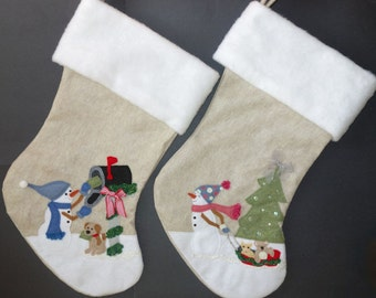 """Personalized Family Christmas Stocking Set--""""Snowman Boy and Snowman Girl"""""""