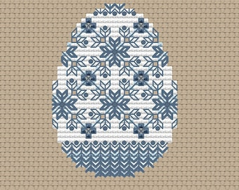Easter egg pdf counted cross stitch pattern blue easter egg instant download pattern by SVStitch