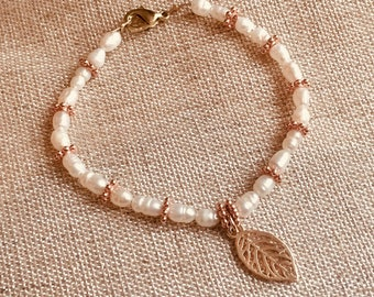 Rose Gold and River Pearl Bracelet