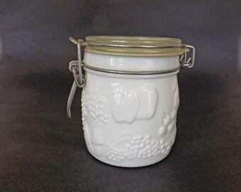 Vintage Westmoreland White Milkglass Jar with Clamp Lid, Kitchen Storage, Kitchen Decor, Storage Jar, Decorative Jar, Westmoreland Glass