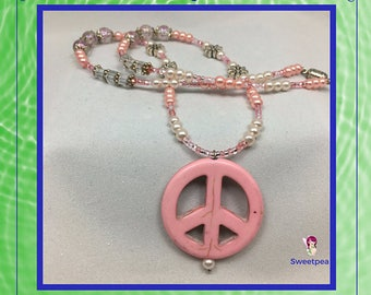 Pink Peace Sign Necklace / Bohemian Jewelry / Hippie Necklace / Statement Necklace / Unique Gift Ideas / One of a Kind