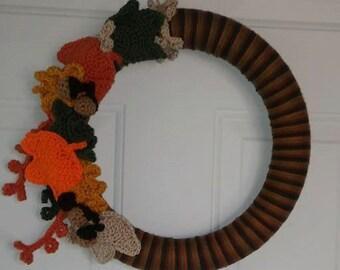 Fall Wreath - Autumn Wreath - Crochet Fall Wreath - 14 in. Fall Wreath - Door Hanging - Yarn Wreath - Crochet Wreath