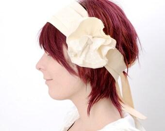 Floral Wedding Headpiece - peach flower headband - Couture fashion accessory, MALAM