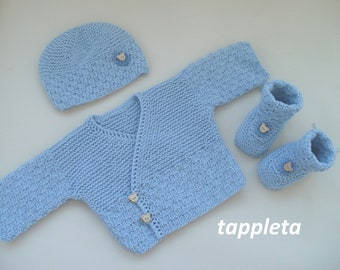 blue sweater set newborn, bear baby boy outfit, hospital clothes, coming home outfit, knitted sweater, hat and booties, cotton baby clothes