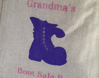 Grandma's Car Boot Sale Bag hand painted jute shopping bag- large. Burlap pun bag, hessian tote bag, bag for life. Funny gift. Gift for Nan