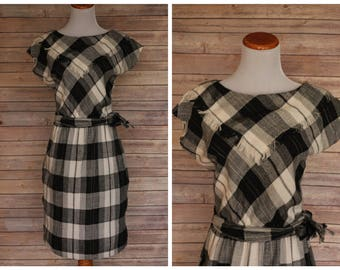 1950s black and white plaid Dress, 1950s Plaid Dress, 1950s Cowgirl Dress, 1950s Western dress, 1950s Country Dress, 1950s flannel dress