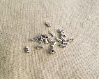 30 tube cylinder beads silver antiqued 2 x 5 mm A22026