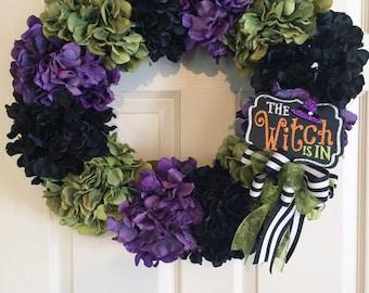 Witch Wreath, Halloween Wreath, Halloween Witch Wreath, Fall Wreath, Halloween Door Wreath, Hydrangea Wreath, Front Door Wreath