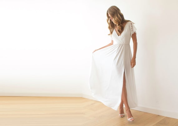 Ivory Wrap Dress With Lace Sleeves Wedding Simple Gown With