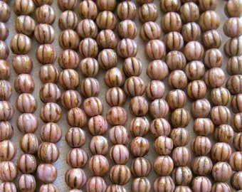 Lot of 50 5mm opaque Rose Gold Topaz melon beads, pink picasso Czech glass beads C9750