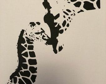 Handcut in paper - Giraffe and baby