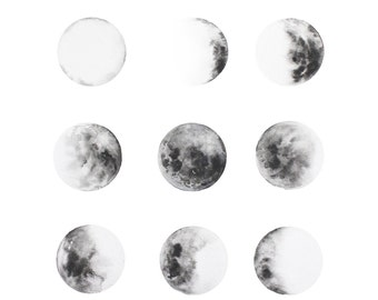 Moon Art Print Celestial Planet, Moon Phases, Art Decor, MOON, Watercolor Paintings, Planets, Jupiter, Moon ART, Lunar