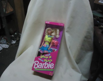 Vintage Mattel 1991 Snap N Play Barbie Doll Sealed in Box, collectable  great Christmas gift