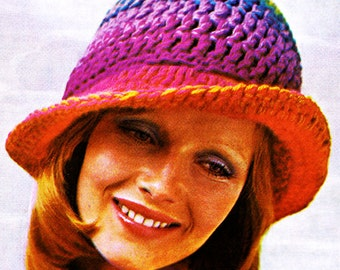 Crochet Hat Pattern - Floppy Sun Hat - 70s beach hat - PDF Instant Download - Digital Pattern - slouchy Hat - crochet pattern PDF - Diy