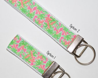 Lilly Pulitzer Inspired Palm Tree Key Chain Key Fob | 2 Sizes | Gift Idea | Teacher Gift | Gifts Under 10 | Sorority Gift | Party Favor